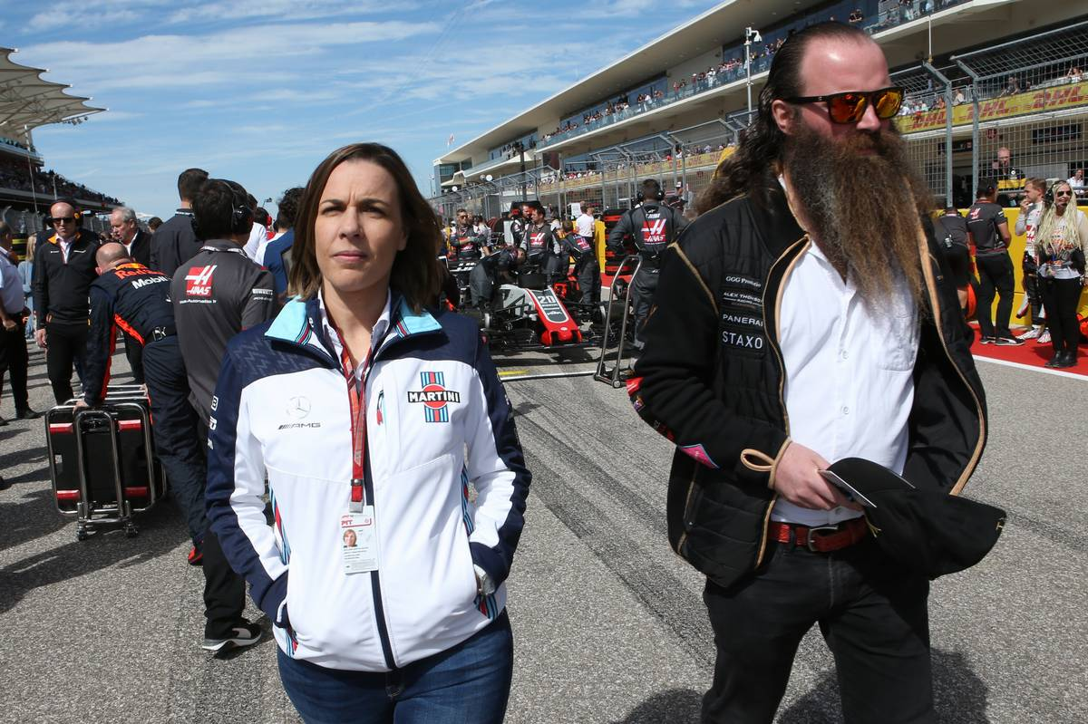 Claire Williams (GBR) Williams Deputy Team Principal.  and William Storey of Rich Energy drinks.