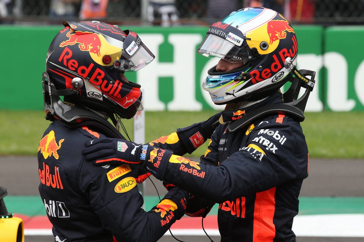 Pole for Daniel Ricciardo (AUS) Red Bull Racing RB14 and 2nd for Max Verstappen (NLD) Red Bull Racing RB14.. 27.10.2018. Formula 1 World Championship, Rd 19, Mexican Grand Prix, Mexico City