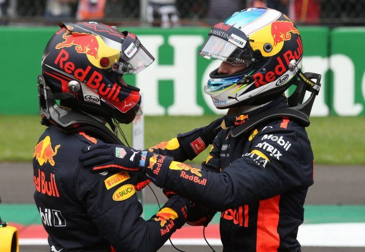 Pole for Daniel Ricciardo (AUS) Red Bull Racing RB14 and 2nd for Max Verstappen