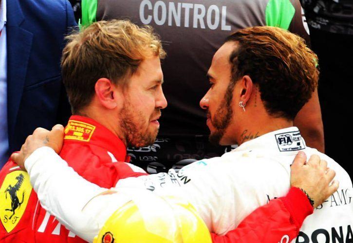 Race winner Lewis Hamilton (GBR) Mercedes AMG F1 celebrates winning the World Championship in parc ferme with Sebastian Vettel (GER) Ferrari.