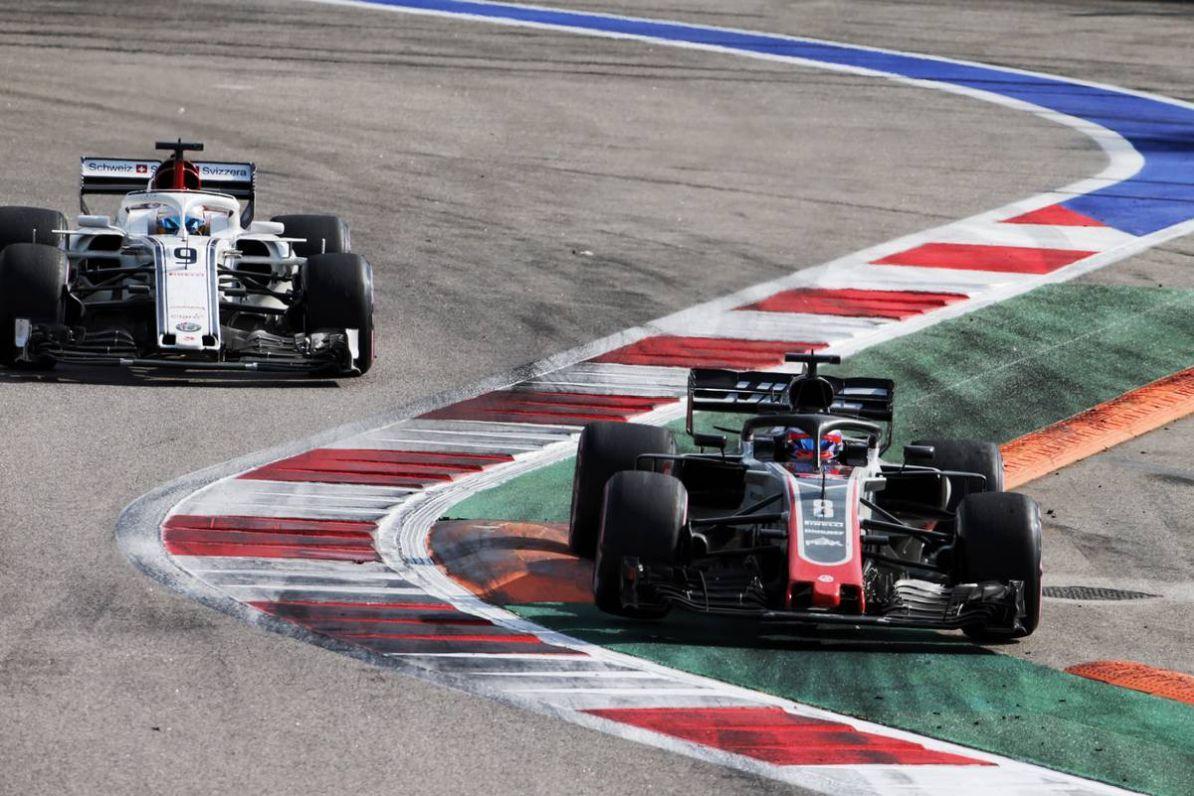 Romain Grosjean (FRA) Haas F1 Team VF-18 runs wide.