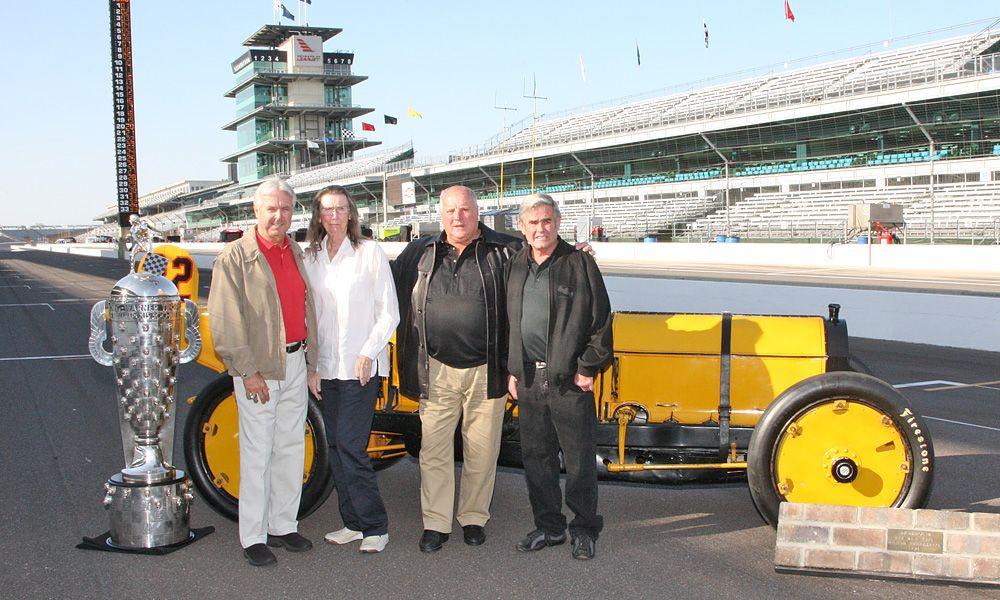 Rick Mears, Mari Hulman George, AJ Foyt, and Al Unser Sr. (Photo by: Ron McQueeney for IndyCar Media.)
