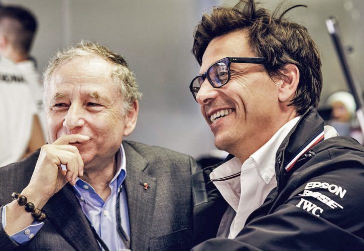 FIA President Jean Todt and Mercedes team principal Toto Wolff.