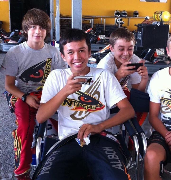 Charles Leclerc, Alaxander Albon and George Russell in their karting days, on their way to Formula 1 stardom.