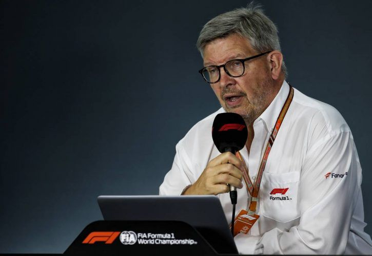 Ross Brawn (GBR) Managing Director, Motor Sports in the FIA Press Conference.