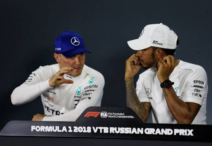 Valtteri Bottas (FIN) Mercedes AMG F1 with team mate Lewis Hamilton (GBR) Mercedes AMG F1 in the post race FIA Press Conference.