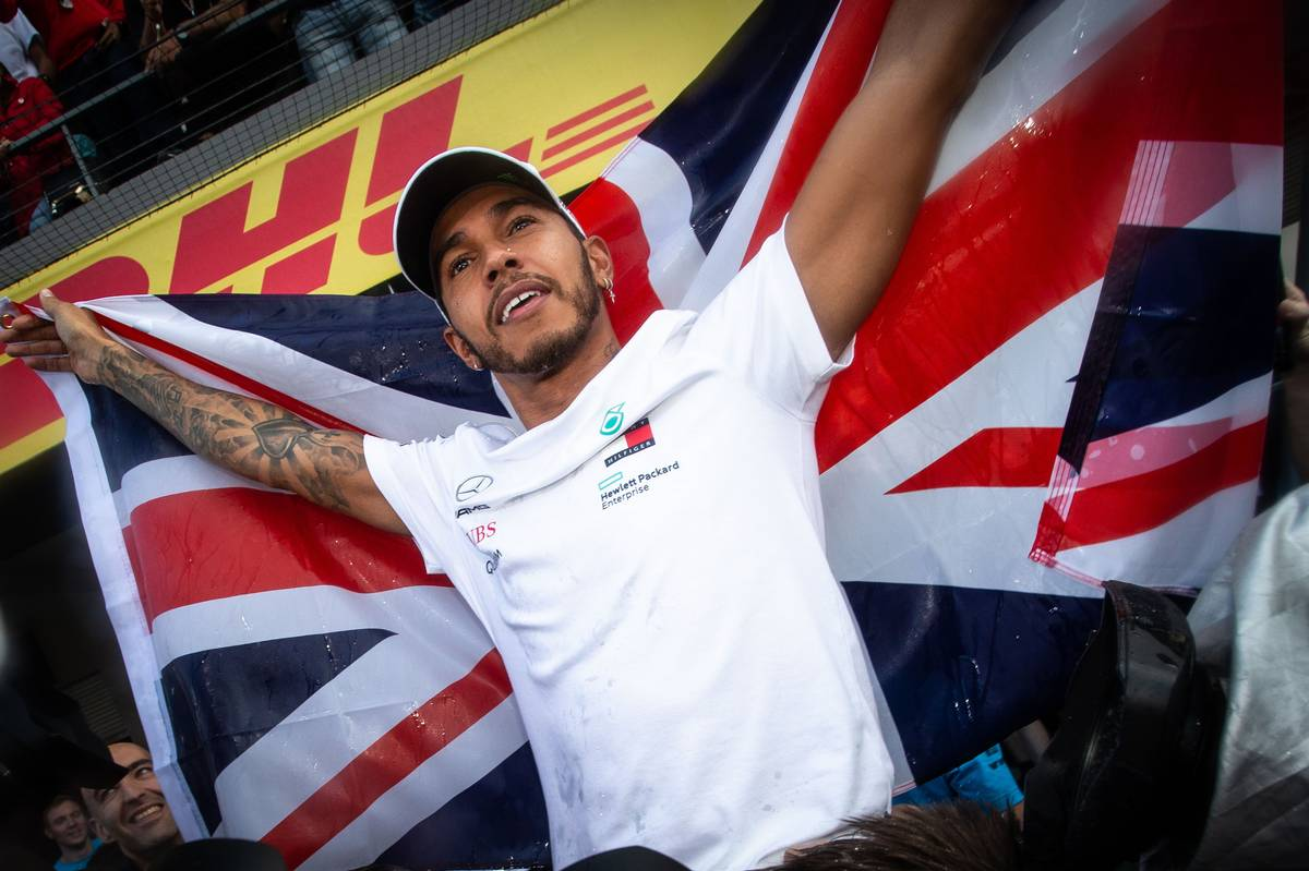 Lewis Hamilton (GBR) Mercedes AMG F1 celebrates winning the World Championship