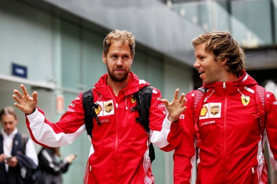 (L to R): Sebastian Vettel (GER) Ferrari with Antti Kontsas (FIN) Personal Trainer. 09.11.2018. Formula 1 World Championship, Rd 20, Brazilian Grand Prix, Sao Paulo, Brazil, Practice Day. - www.xpbimages.com, EMail: requests@xpbimages.com - copy of publication required for printed pictures. Every used picture is fee-liable. © Copyright: Batchelor / XPB Images