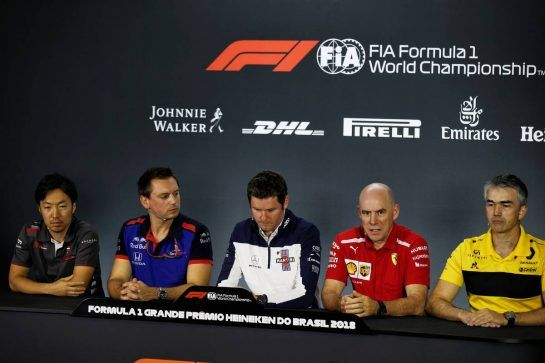 The FIA Press Conference (L to R): Ayao Komatsu (JPN) Haas F1 Team Race Engineer; Jonathan Eddols (GBR) Scuderia Toro Rosso Chief Race Engineer; Rob Smedley (GBR) Williams Head of Vehicle Performance; Jock Clear (GBR) Ferrari Engineering Director; Nick Chester (GBR) Renault Sport F1 Team Chassis Technical Director. 09.11.2018. Formula 1 World Championship, Rd 20, Brazilian Grand Prix, Sao Paulo, Brazil, Practice Day. - www.xpbimages.com, EMail: requests@xpbimages.com - copy of publication required for printed pictures. Every used picture is fee-liable. © Copyright: Batchelor / XPB Images
