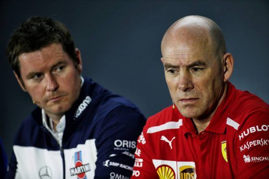 (L to R): Rob Smedley (GBR) Williams Head of Vehicle Performance and Jock Clear (GBR) Ferrari Engineering Director in the FIA Press Conference. 09.11.2018. Formula 1 World Championship, Rd 20, Brazilian Grand Prix, Sao Paulo, Brazil, Practice Day. - www.xpbimages.com, EMail: requests@xpbimages.com - copy of publication required for printed pictures. Every used picture is fee-liable. © Copyright: Batchelor / XPB Images
