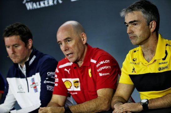 (L to R): Rob Smedley (GBR) Williams Head of Vehicle Performance with Jock Clear (GBR) Ferrari Engineering Director and Nick Chester (GBR) Renault Sport F1 Team Chassis Technical Director in the FIA Press Conference. 09.11.2018. Formula 1 World Championship, Rd 20, Brazilian Grand Prix, Sao Paulo, Brazil, Practice Day. - www.xpbimages.com, EMail: requests@xpbimages.com - copy of publication required for printed pictures. Every used picture is fee-liable. © Copyright: Batchelor / XPB Images