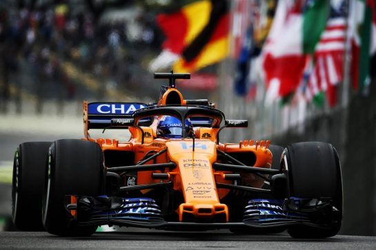 Fernando Alonso (ESP) McLaren MCL33. 09.11.2018. Formula 1 World Championship, Rd 20, Brazilian Grand Prix, Sao Paulo, Brazil, Practice Day. - www.xpbimages.com, EMail: requests@xpbimages.com - copy of publication required for printed pictures. Every used picture is fee-liable. © Copyright: Batchelor / XPB Images