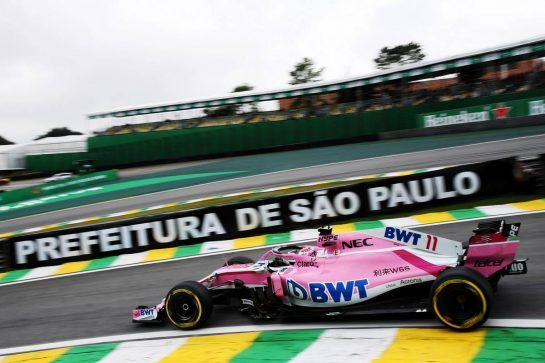 Sergio Perez (MEX) Racing Point Force India F1 VJM11. 09.11.2018. Formula 1 World Championship, Rd 20, Brazilian Grand Prix, Sao Paulo, Brazil, Practice Day. - www.xpbimages.com, EMail: requests@xpbimages.com - copy of publication required for printed pictures. Every used picture is fee-liable. © Copyright: Batchelor / XPB Images