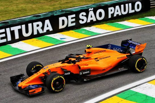 Stoffel Vandoorne (BEL) McLaren MCL33. 10.11.2018. Formula 1 World Championship, Rd 20, Brazilian Grand Prix, Sao Paulo, Brazil, Qualifying Day. - www.xpbimages.com, EMail: requests@xpbimages.com - copy of publication required for printed pictures. Every used picture is fee-liable. © Copyright: Moy / XPB Images
