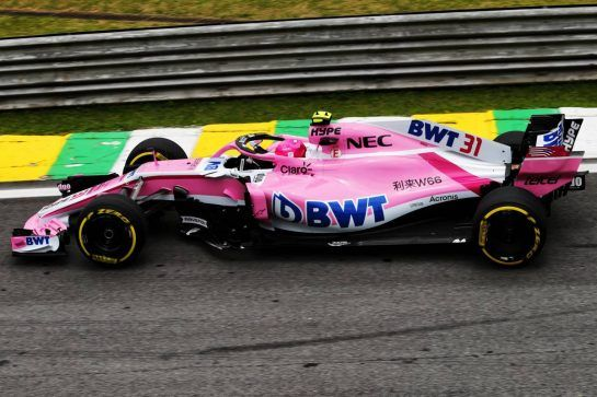 Esteban Ocon (FRA) Racing Point Force India F1 VJM11. 10.11.2018. Formula 1 World Championship, Rd 20, Brazilian Grand Prix, Sao Paulo, Brazil, Qualifying Day. - www.xpbimages.com, EMail: requests@xpbimages.com - copy of publication required for printed pictures. Every used picture is fee-liable. © Copyright: Moy / XPB Images