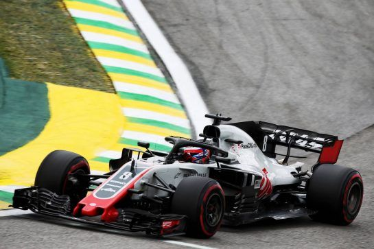 Romain Grosjean (FRA) Haas F1 Team VF-18. 10.11.2018. Formula 1 World Championship, Rd 20, Brazilian Grand Prix, Sao Paulo, Brazil, Qualifying Day. - www.xpbimages.com, EMail: requests@xpbimages.com - copy of publication required for printed pictures. Every used picture is fee-liable. © Copyright: Batchelor / XPB Images
