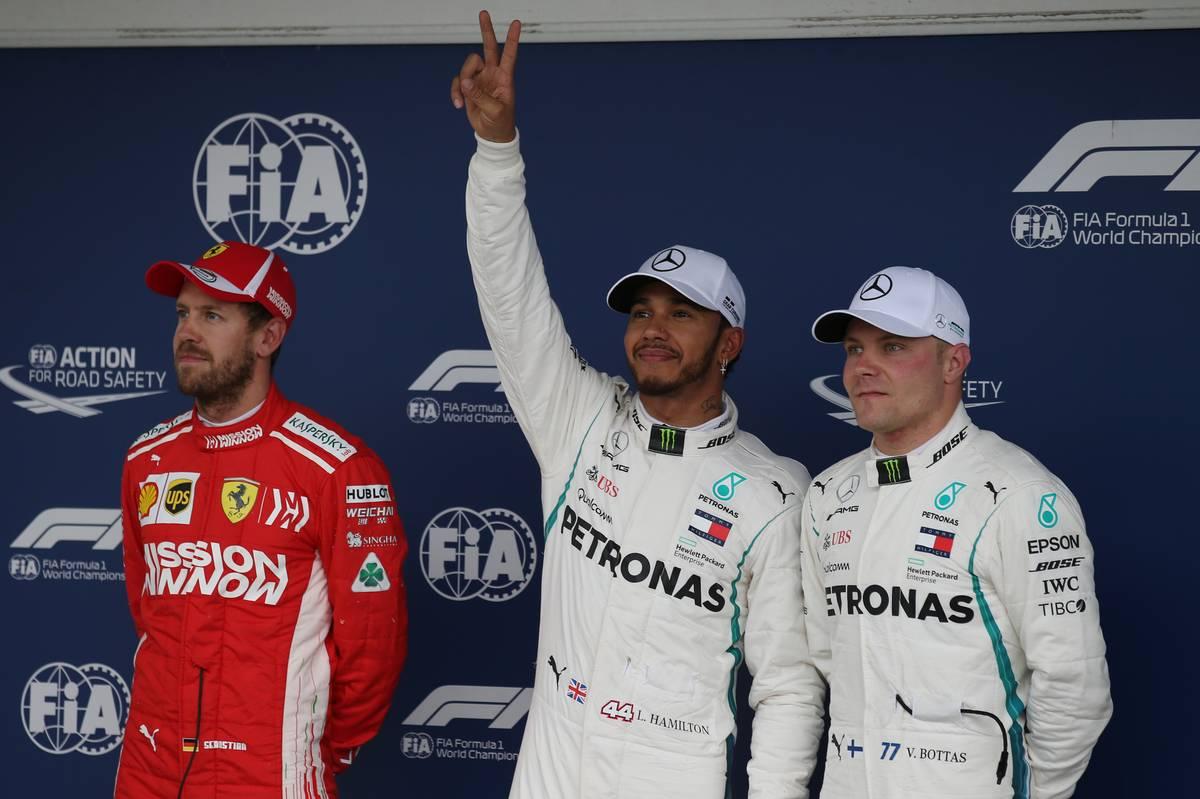 Pole for Lewis Hamilton (GBR) Mercedes, 2nd for Sebastian Vettel (GER) Scuderia Ferrari and 3rd Valtteri Bottas (FIN) Mercedes AMG F1.