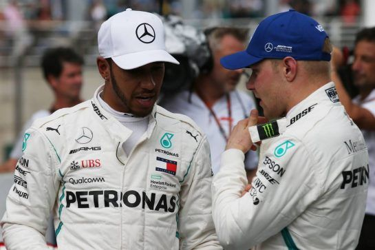 Pole for Lewis Hamilton (GBR) Mercedes and 3rd Valtteri Bottas (FIN) Mercedes AMG F1.10.11.2018. Formula 1 World Championship, Rd 20, Brazilian Grand Prix, Sao Paulo, Brazil, Qualifying Day.- www.xpbimages.com, EMail: requests@xpbimages.com - copy of publication required for printed pictures. Every used picture is fee-liable. © Copyright: Batchelor / XPB Images