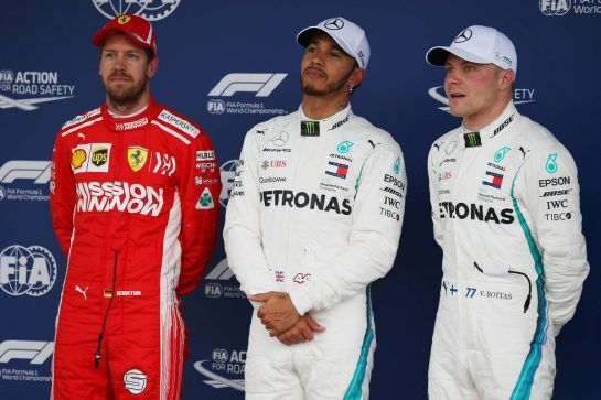 Pole for Lewis Hamilton (GBR) Mercedes, 2nd for Sebastian Vettel (GER) Scuderia Ferrari  and 3rd Valtteri Bottas (FIN) Mercedes AMG F1.10.11.2018. Formula 1 World Championship, Rd 20, Brazilian Grand Prix, Sao Paulo, Brazil, Qualifying Day.- www.xpbimages.com, EMail: requests@xpbimages.com - copy of publication required for printed pictures. Every used picture is fee-liable. © Copyright: Batchelor / XPB Images
