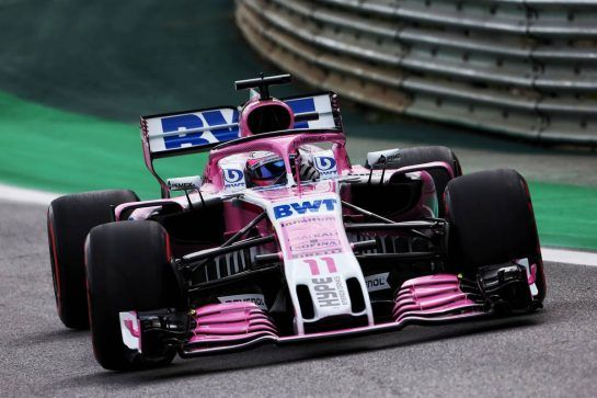 Sergio Perez (MEX) Racing Point Force India F1 VJM11. 10.11.2018. Formula 1 World Championship, Rd 20, Brazilian Grand Prix, Sao Paulo, Brazil, Qualifying Day. - www.xpbimages.com, EMail: requests@xpbimages.com - copy of publication required for printed pictures. Every used picture is fee-liable. © Copyright: Moy / XPB Images