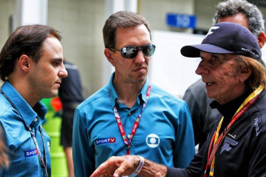 (L to R): Felipe Massa (BRA) with Luciano Burti (BRA) and Emerson Fittipaldi (BRA). 10.11.2018. Formula 1 World Championship, Rd 20, Brazilian Grand Prix, Sao Paulo, Brazil, Qualifying Day. - www.xpbimages.com, EMail: requests@xpbimages.com - copy of publication required for printed pictures. Every used picture is fee-liable. © Copyright: Moy / XPB Images