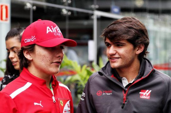 (L to R): Enzo Fittiapldi (BRA) Ferrari Academy Driver with Pietro Fittipaldi (BRA) Haas F1 Team Test Driver. 10.11.2018. Formula 1 World Championship, Rd 20, Brazilian Grand Prix, Sao Paulo, Brazil, Qualifying Day. - www.xpbimages.com, EMail: requests@xpbimages.com - copy of publication required for printed pictures. Every used picture is fee-liable. © Copyright: Photo4 / XPB Images