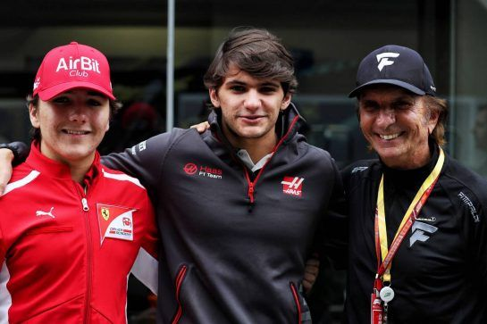 (L to R): Enzo Fittiapldi (BRA) Ferrari Academy Driver with Pietro Fittipaldi (BRA) Haas F1 Team Test Driver and Emerson Fittipaldi (BRA). 10.11.2018. Formula 1 World Championship, Rd 20, Brazilian Grand Prix, Sao Paulo, Brazil, Qualifying Day. - www.xpbimages.com, EMail: requests@xpbimages.com - copy of publication required for printed pictures. Every used picture is fee-liable. © Copyright: Photo4 / XPB Images