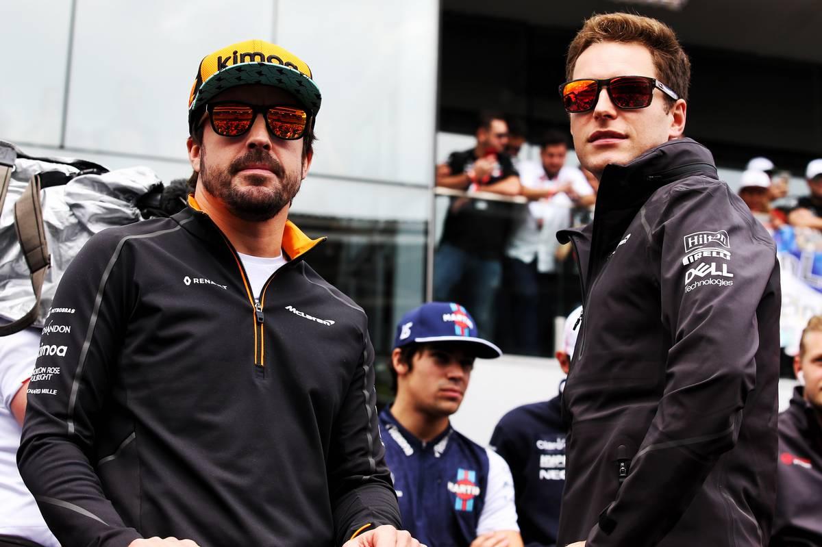 Fernando Alonso (ESP) McLaren and Stoffel Vandoorne (BEL) McLaren on the drivers parade.