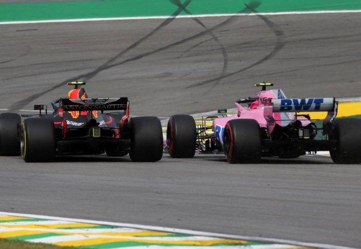 Max Verstappen (NLD) Red Bull Racing and Esteban Ocon (FRA) Force India clash