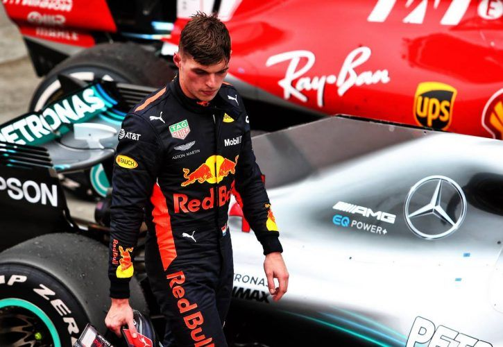 Second placed Max Verstappen (NLD) Red Bull Racing in parc ferme.