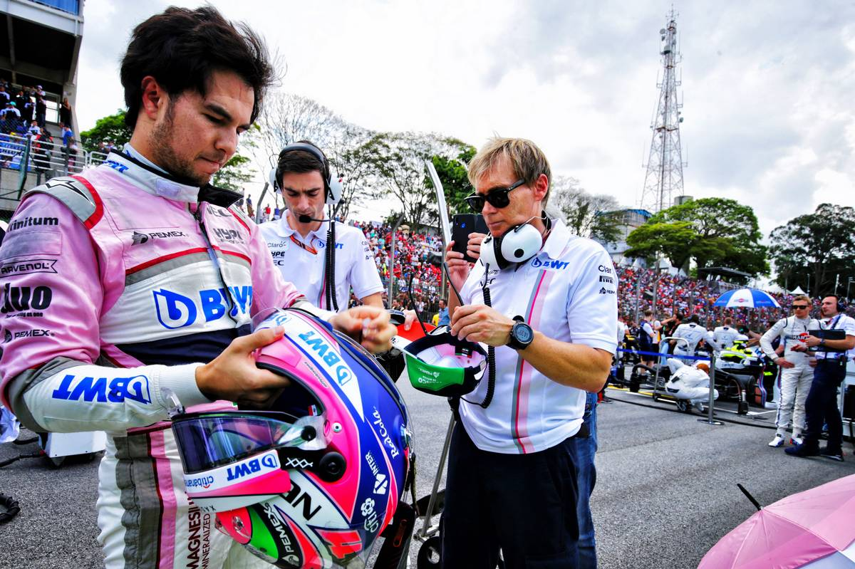 Sergio Perez (MEX) Racing Point Force India F1 Team on the grid.