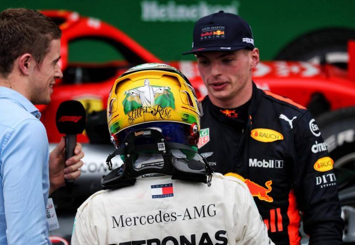 Paul di Resta (GBR) Sky Sports F1 Presenter with race winner Lewis Hamilton (GBR) Mercedes AMG F1 and second placed Max Verstappen (NLD) Red Bull Racing in parc ferme.