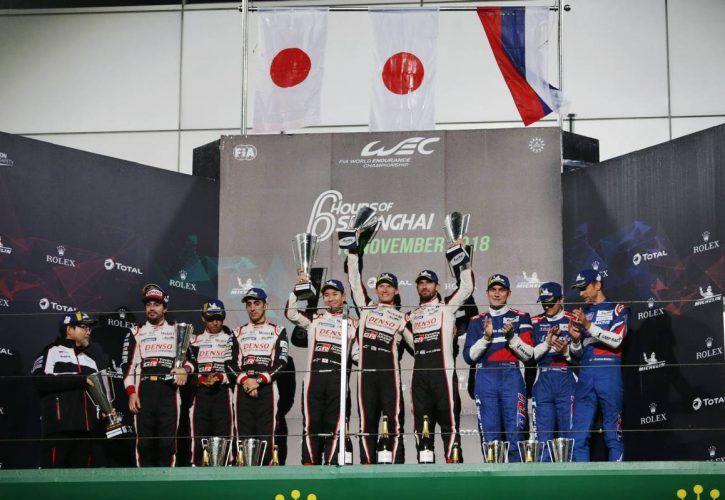 he podium (L to R): Fernando Alonso (ESP); Kazuki Nakajima (JPN); Sebastien Buemi (SUI) #08 Toyota Gazoo Racing Toyota TS050 Hybrid, second; Kamui Kobayashi (JPN); Mike Conway (GBR); Jose Maria Lopez (ARG) #07 Toyota Gazoo Racing Toyota TS050 Hybrid, winners; Vitaly Petrov (RUS); Mikhail Aleshin (RUS); Jenson Button (GBR) #11 SMP Racing BR Engineering BR1 - AER, third.