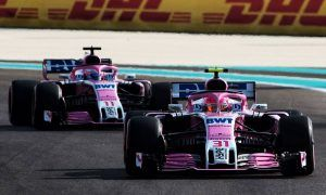 Esteban Ocon (FRA) Racing Point Force India F1 VJM11 leads team mate Sergio Perez (MEX) Racing Point Force India F1 VJM11.