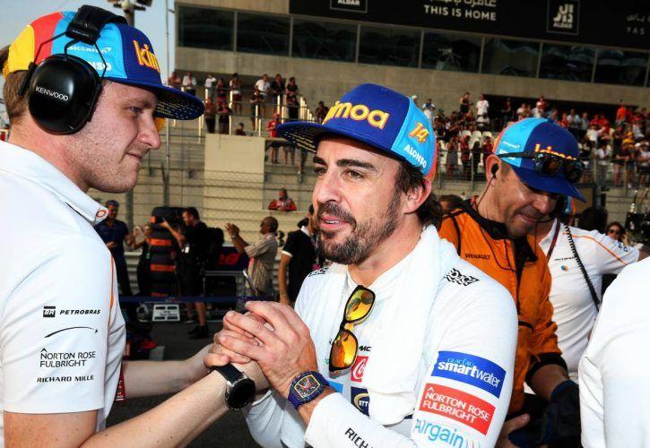 Fernando Alonso (ESP) McLaren on the grid.