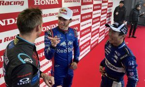 A trio of Honda drivers talk shop at Motegi