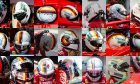 Sebastian Vettel's array of crash helmets used during the 2018 Formula 1 world championship