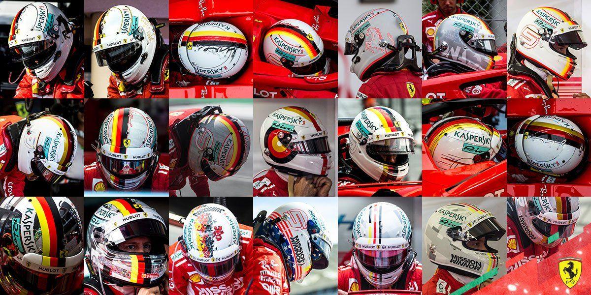 Sebastian Vettel's array of crash helmets used during the 2018 Formula 1 world championship