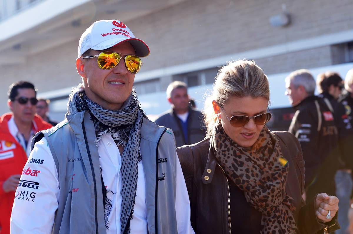 Michael Schumacher (GER) Mercedes AMG F1 with wife Corinna.