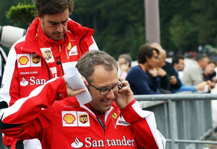 Stefano Domenicali (ITA) Ferrari General Director with Fernando Alonso (ESP) Ferrari.