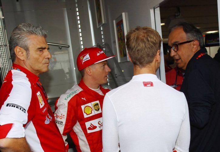 Maurizio Arrivabene (ITA) Ferrari Team Principal with Kimi Raikkonen (FIN) Ferrari; Sebastian Vettel (GER) Ferrari; and Sergio Marchionne (ITA), Ferrari President and CEO of Fiat Chrysler Automobiles.