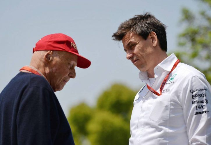 Niki Lauda (AUT) Mercedes Non-Executive Chairman with Toto Wolff (GER) Mercedes AMG F1 Shareholder and Executive Director.