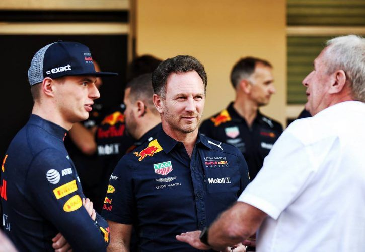 Max Verstappen (NLD) Red Bull Racing with Christian Horner (GBR) Red Bull Racing Team Principal and Dr Helmut Marko (AUT) Red Bull Motorsport Consultant.