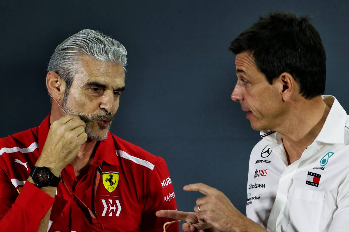 Maurizio Arrivabene (ITA) Ferrari Team Principal and Toto Wolff (GER) Mercedes AMG F1 Shareholder and Executive Director in the FIA Press Conference.