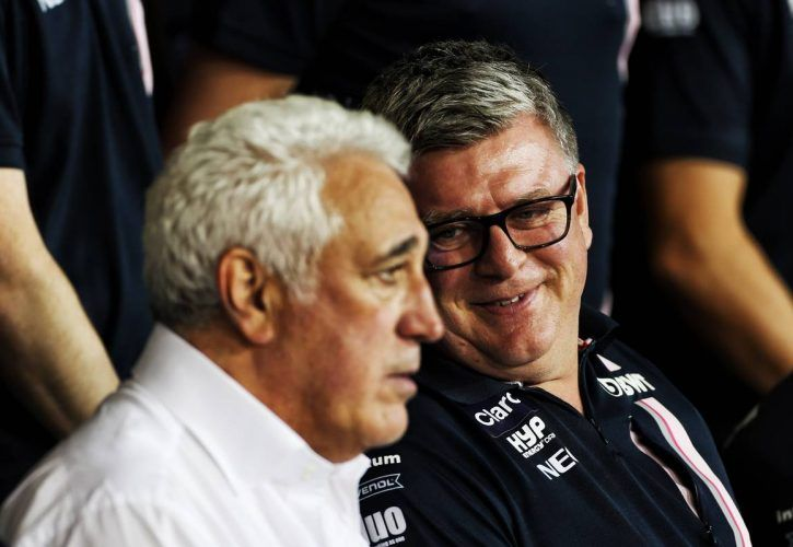 Otmar Szafnauer (USA) Racing Point Force India F1 Team Principal and CEO with Lawrence Stroll (CDN) Racing Point Force India F1 Team Investor at a team photograph.