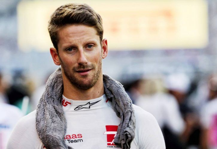 Romain Grosjean (FRA) Haas F1 Team on the grid.
