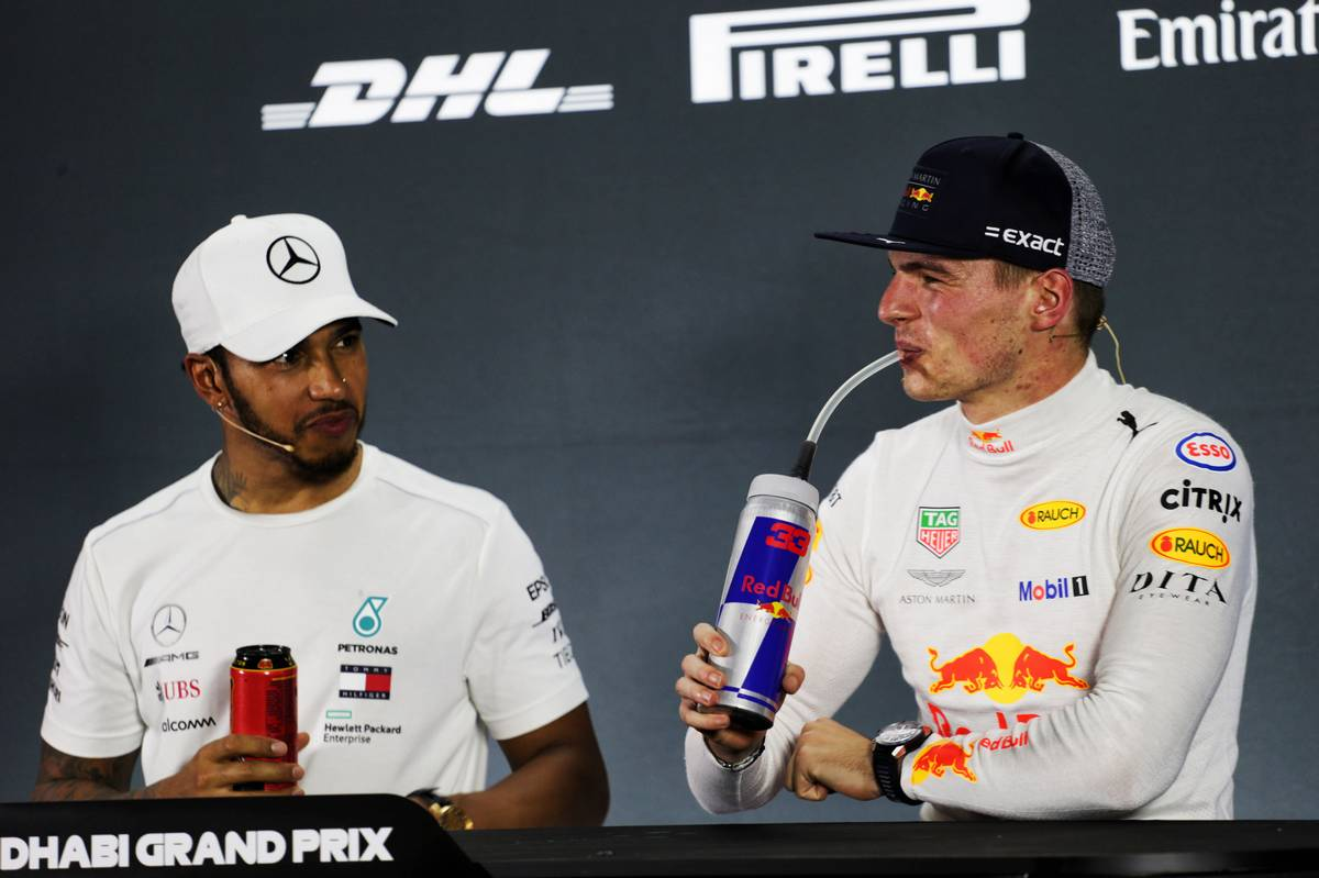 Lewis Hamilton (GBR) Mercedes AMG F1 and Max Verstappen (NLD) Red Bull Racing in the post race FIA Press Conference.