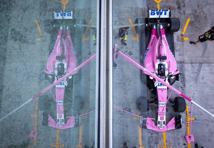 Lance Stroll (CDN) Racing Point Force India F1 VJM11 in the pits. 28.11.2018. Formula 1 Testing, Yas Marina Circuit, Abu Dhabi, Wednesday.