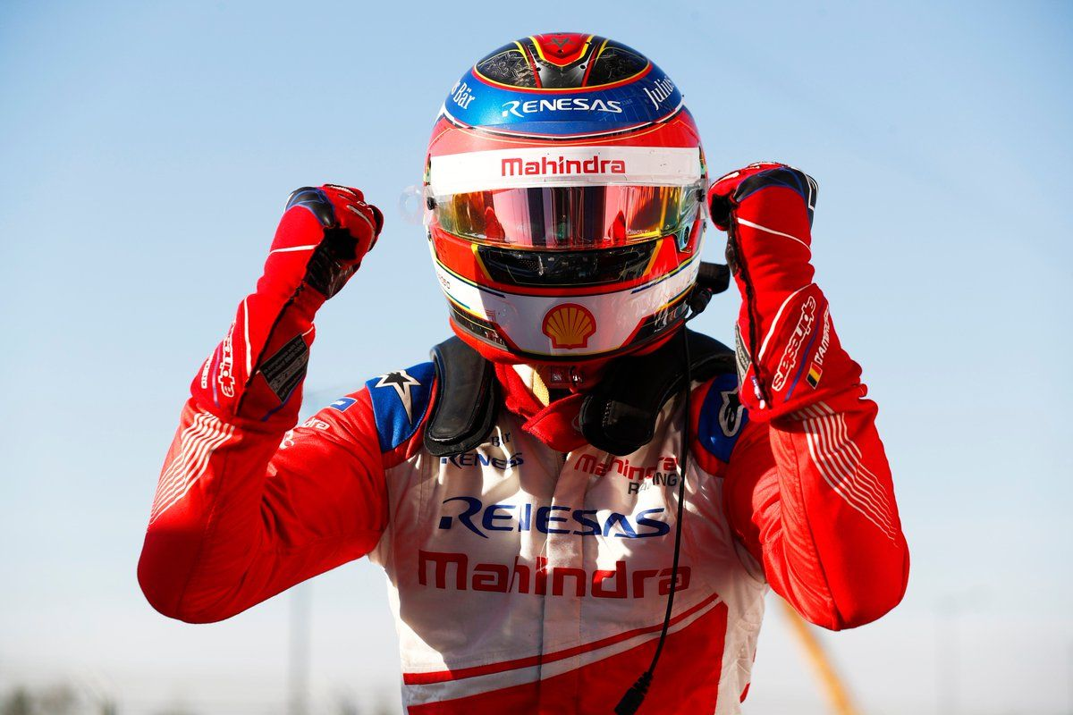 Mahindra Racing's Jérôme d'Ambrosio celebrates victory in the 2019 Marrakesh ePrix.