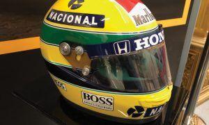 A race-worn Ayrton Senna helmet awaits a bidder